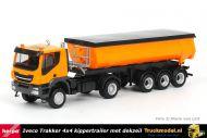Herpa 311373 Iveco Trakker 4x4 Carnehl kippertrailer met dekzeil