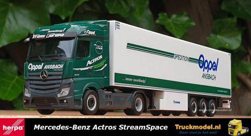 Herpa 311663 Oppel Ansbach Mercedes Actros Koeloplegger