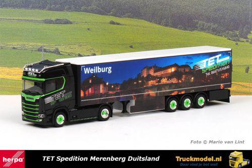 Herpa 312394 TET Spedition Weilburg Limburg Scania S HL schuifzeiltrailer