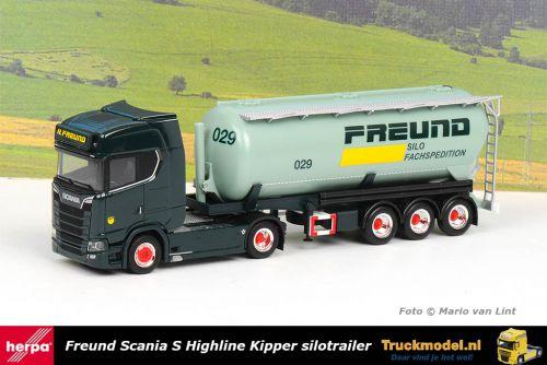 Herpa 312974 Freund Scania S Highline korte kipper silotrailer