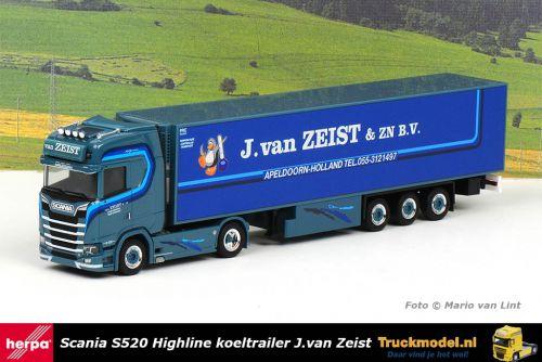 Herpa 313063 J.van Zeist Scania S520 Highline trekker koeltrailer