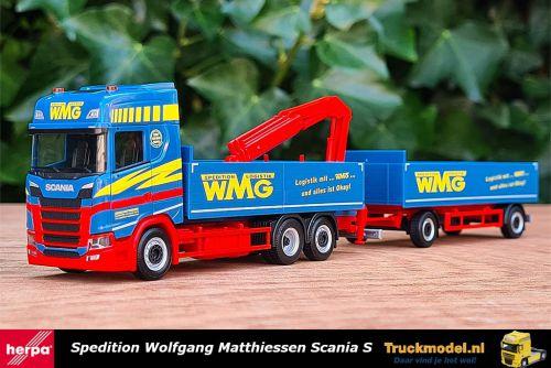 Herpa 313285 Wolfgang Matthiessen Scania S HL open combi met kraan