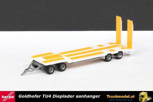 Herpa 76142-002 Goldhofer TU4 4 assige dieplader aanhanger Wit