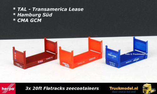 Herpa 76579 3x 20ft Flatrack zeecontainer set