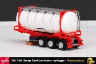 Herpa 076678 Swap tankcontainer oplegger Rood wit