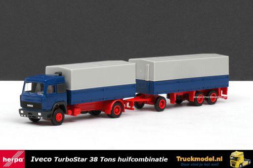 Herpa 827011 Iveco TurboStar 38 Tons huifcombinatie Rood blauw grijs