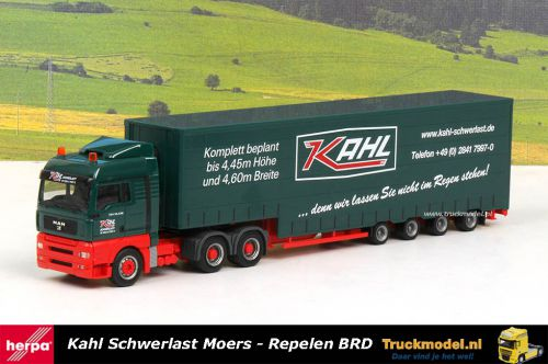 Herpa 258357 Kahl Schwerlast MAN TGA 4 as Meusburger trailer