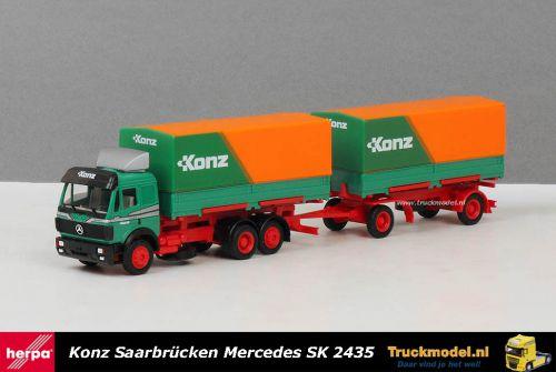 Herpa WDV Konz Mercedes-Benz SK 2435 huifwisselbakken combinatie